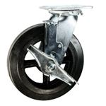 8 Inch Swivel Caster with Rubber Tread Wheel with Ball Bearings and Brake