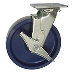 8 Inch Swivel Caster with Brake - Solid Polyurethane Wheel with Ball Bearings