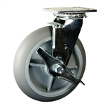 "8"" Swivel Caster with Brake and Thermoplastic Rubber Tread Wheel with Ball Bearings"