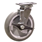 "8"" Swivel Caster w/ Brake and Thermoplastic Rubber Tread Wheel and Ball Bearings"