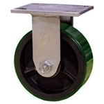 5 Inch Rigid Caster with Green Polyurethane Tread Wheel and Ball Bearings