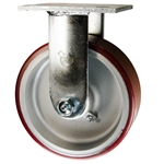 6 Inch Rigid Caster with Polyurethane Tread on Aluminum Core Wheel and Ball Bearings