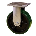 6 Inch Rigid Caster with Green Polyurethane Tread Wheel and Ball Bearings