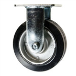 6 Inch Rigid Caster with Rubber Tread on Aluminum Core Wheel