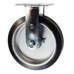 8 Inch Rigid Caster with Rubber Tread on Aluminum Core Wheel and Ball Bearings
