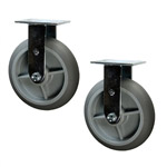 "8"" Rigid Soft Tread Food Service Cart Caster"