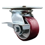 4 Inch Large Top Plate Swivel Caster Poly on Aluminum with Brake