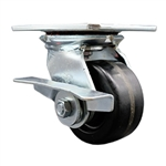 4 Inch Large Plate Swivel Caster with Phenolic Wheel and Brake
