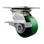 4 Inch Large Top Plate Swivel Caster with Polyurethane Tread Wheel and Brake