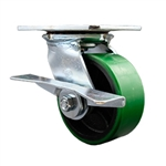 5 Inch Large Top Plate Swivel Caster with Polyurethane Tread Wheel and Brake