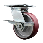 6 Inch Heavy Large Top Plate Swivel Caster Poly on Aluminum Wheel with Brake