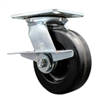 6 Inch Large Plate Swivel Caster with Phenolic Wheel and Brake