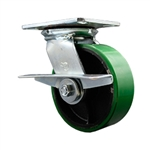 6 Inch Large Plate Swivel Caster with Polyurethane Tread Wheel and Brake