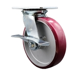 8 Inch Large Top Plate Swivel Caster Poly on Aluminum Wheel with Brake