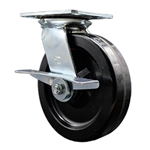 8 Inch Large Plate Swivel Caster with Phenolic Wheel and Brake