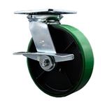 8 Inch Heavy Large Plate Swivel Caster with Polyurethane Tread Wheel and Brake