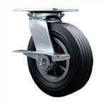 "8"" Swivel  Semi Pneumatic Cart Caster with Flat Free Wheel and Brake"