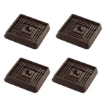 "2"" Square Rubber Furniture Cup - Prevent Sliding - Set of 4"