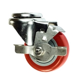 "3"" Bolt Hole Swivel Caster with Red Polyurethane Tread and Brake"