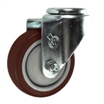 "3-1/2"" Bolt Hole Swivel Caster with Maroon Polyurethane Tread"