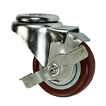 "3-1/2"" Bolt Hole Swivel Caster with Maroon Polyurethane Tread and Brake"