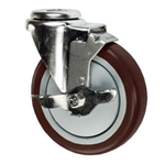 "5"" Bolt Hole Swivel Caster with Maroon Polyurethane Tread and Brake"