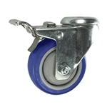 3 Inch Bolt Hole Swivel Caster with Blue Polyurethane Wheel Tread and Total Lock Brake