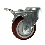 3 Inch Bolt Hole Swivel Caster with Maroon Polyurethane Tread and Total Lock Brake