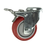 3 Inch Bolt Hole Swivel Caster with Red Polyurethane Tread and Total Lock Brake