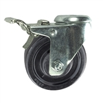 "3-1/2"" Total Lock Swivel Caster with bolt hole and hard rubber wheel"