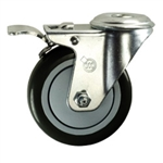 "4"" Bolt Hole Swivel Caster with Black Polyurethane Tread and Total Lock Brake"