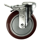 "5"" Bolt Hole Swivel Caster with Maroon Polyurethane Tread and Total Lock Brake"