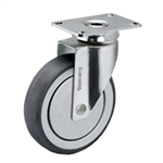 4 inch chrome swivel caster with poly wheel for hospital applications