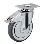 6 inch chrome total lock swivel caster for hospital applications