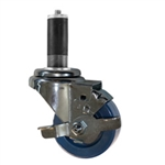 "3"" Expanding Stem Swivel Caster with Solid Polyurethane Wheel and Brake"