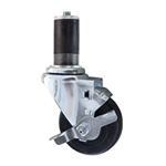 "3-1/2"" Expanding Stem Swivel Caster with Hard Rubber Wheel and Top Lock Brake"