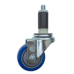 "3.5"" Expanding Stem Swivel Caster with Blue Polyurethane Tread"