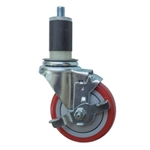 "4"" Expanding Stem Swivel Caster with Polyurethane Tread and top lock brake"
