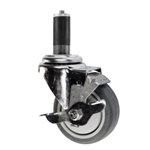 "4"" Expanding Stem Swivel Caster with Thermoplastic Rubber wheel and top lock brake"