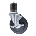 "5"" Expanding Stem Swivel Caster with Hard Rubber Wheel and Top Lock Brake"