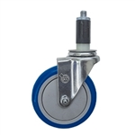"5"" Expanding Stem Swivel Caster with Blue Polyurethane Tread"