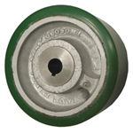 "6"" x 3"" Polyurethane tread on cast iron drive wheel with keyway and metric bore"