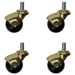 Set of 4 Spherical ball casters with bright brass finish