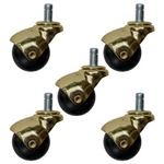 Set of 5 Spherical ball casters with Polished Bright Brass finish