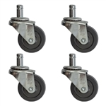 Set of four Soft Rubber Tread Furniture Casters