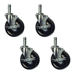 "5"" wire shelf casters with brakes"