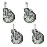 "5"" Metro wire shelf casters with brakes"
