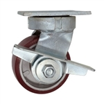 4 Inch Kingpinless Swivel Caster with Polyurethane Tread on Aluminum Core Wheel, Ball Bearings, and Brake