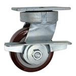 4 Inch Kingpinless Swivel Caster with Polyurethane on Polyolefin Wheel, Ball Bearings, and Brake
