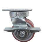 4 Inch Kingpinless Swivel Caster with Polyurethane Tread Wheel, Ball Bearings, and Brake